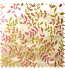 Pink green beige color natural floral hanging leaf vertical embroidery pattern with thick polyester background main curtain