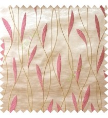 Pink white green color vertical flowing lines with embroidery leaf design trendy stripes  pattern with polyester transparent fabric Main curtain