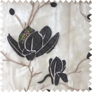 Black beige grey color natural floral tree flowers branch buds embroidery pattern with transparent polyester background sheer curtain