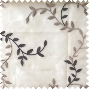 Black beige grey color natural floral hanging leaf vertical embroidery pattern with thick polyester background sheer curtain