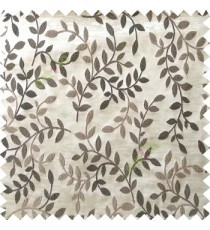 Black beige grey color natural floral hanging leaf vertical embroidery pattern with thick polyester background main curtain