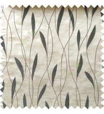 Black grey color vertical flowing lines with embroidery leaf design trendy stripes  pattern with polyester transparent fabric Main curtain