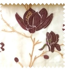 Purple beige color natural floral tree flowers branch buds embroidery pattern with transparent polyester background sheer curtain