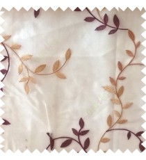 Purple beige color natural floral hanging leaf vertical embroidery pattern with thick polyester background sheer curtain