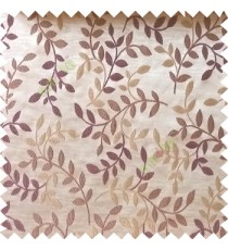 Purple beige color natural floral hanging leaf vertical embroidery pattern with thick polyester background main curtain