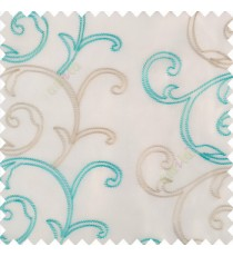 Aqua blue beige white color traditional embroidery large size swirl patterns with transparent net fabric sheer curtain