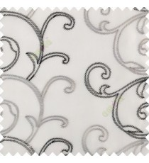 Pure black white grey color traditional embroidery large size swirl patterns with transparent net fabric sheer curtain