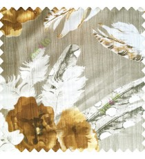 Gold grey white color natural floral big feathers vertical texture lines flowers decorative patterns polyester main curtain