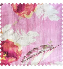 Pink white black gold purple color natural floral big feathers vertical texture lines flowers decorative patterns polyester main curtain