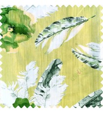 Green grey white black color natural floral big feathers vertical texture lines flowers decorative patterns polyester main curtain