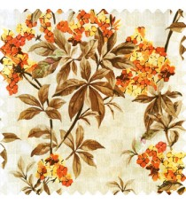 Orange brown beige gold color natural small trees with long leaves floral designs small flowers texture background polyester main curtain