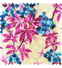 Pink blue beige color natural small trees with long leaves floral designs small flowers texture background polyester main curtain