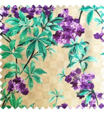 Purple blue beige color natural small trees with long leaves floral designs small flowers texture background polyester main curtain
