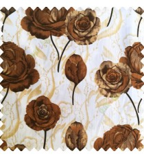Dark brown black white beige color beautiful elegant look rose flowers traditional background designs polyester thick base fabric main curtain