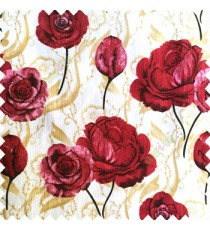 Dark red black gold cream color beautiful elegant look rose flowers traditional background designs polyester thick base fabric main curtain