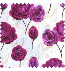 Purple black gold white color beautiful elegant look rose flowers traditional background designs polyester thick base fabric main curtain