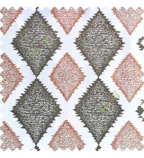 Chocolate brown and copper brown combination with white base polyester fabric traditional designs texture patterns horizontal bold dot lines sharp edge finish polyester main curtain