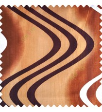 Copper brown color texture polyester base fabric horizontal dark coffee and cream zigzag bold lines vertical texture lines main curtain