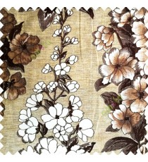 Dark brown cream color beautiful floral vertical designs different size flowers leaves and flower buds vertical crush lines texture base polyester fabric main curtain