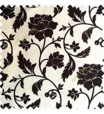 Dark brown and cream color base polyester fabric crush lines traditional floral rose flower designs with long flowing stems with leaves flower buds main curtain