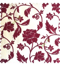 Maroon cream color base polyester fabric crush lines traditional floral rose flower designs with long flowing stems with leaves flower buds main curtain