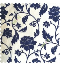 Royal blue cream color base polyester fabric crush lines traditional floral rose flower designs with long flowing stems with leaves flower buds main curtain