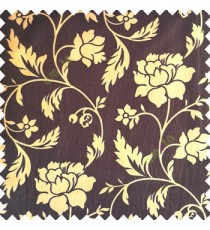 Dark chocolate brown gold color base polyester fabric crush lines traditional floral rose flower designs with long flowing stems with leaves flower buds main curtain