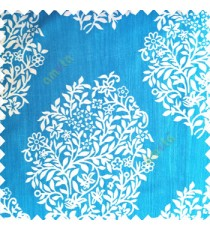 Aqua blue cream color traditional designs small size floral twigs vertical crush lines polyester base fabric main curtain
