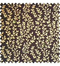 Dark brown gold color small sea plants vertical designs leaves and trendy stems support polyester main curtain