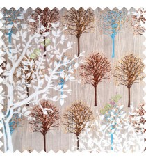 Brown white blue orange beige color natural designs small tree patterns texture big size floral trees small dots vertical lines polyester main curtain