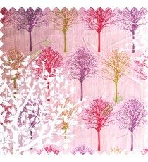 Pink purple green red color natural designs small tree patterns texture big size floral trees small dots vertical lines polyester main curtain