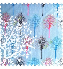 Blue pink grey white color natural designs small tree patterns texture big size floral trees small dots vertical lines polyester main curtain