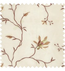 Brown cream white color natural floral embroidery patterns horizontal lines with transparent polyester fabric leaf flower buds sheer curtain