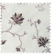 Purple pink white beige color natural floral embroidery patterns horizontal lines with transparent polyester fabric leaf flower buds sheer curtain