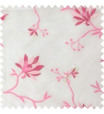 Pink white color natural floral embroidery patterns horizontal lines with transparent polyester fabric leaf flower buds sheer curtain