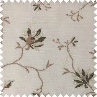 Brown beige color natural floral embroidery patterns horizontal lines with transparent polyester fabric leaf flower buds sheer curtain