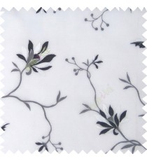 Black white cream grey color natural floral embroidery patterns horizontal lines with transparent polyester fabric leaf flower buds sheer curtain