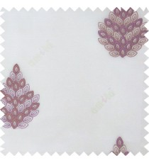 Purple white color traditional damask embroidery pattern  with transparent polyester fabric leaf flower buds sheer curtain