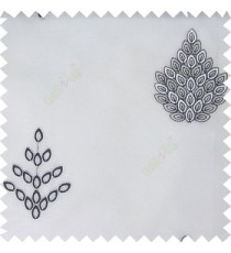 Black white color traditional damask embroidery pattern  with transparent polyester fabric leaf flower buds sheer curtain