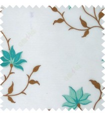 Blue brown white color natural floral embroidery patterns horizontal lines with transparent polyester fabric leaf flower buds sheer curtain
