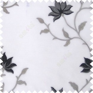 Black white grey color natural floral embroidery patterns horizontal lines with transparent polyester fabric leaf flower buds sheer curtain