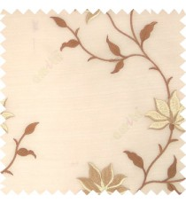 Brown beige gold color natural floral embroidery patterns horizontal lines with transparent polyester fabric leaf flower buds sheer curtain