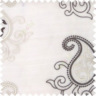 Brown beige color beautiful traditional paisley pattern swirls design with transparent polyester fabric sheer curtain