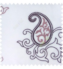 Purple white color beautiful traditional paisley pattern swirls design with transparent polyester fabric sheer curtain