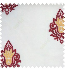 Maroon white yellow color traditional damask design horizontal lines with transparent fabric sheer curtain