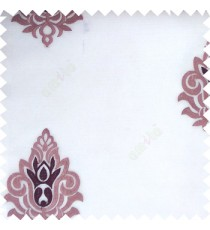 Purple white color traditional damask design horizontal lines with transparent fabric sheer curtain