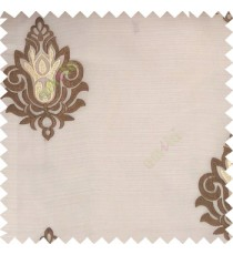 Brown beige color traditional damask design horizontal lines with transparent fabric sheer curtain