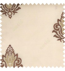 Brown gold color traditional damask design horizontal lines with transparent fabric sheer curtain