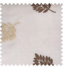 Light brown beige color beautiful natural floral leaf pattern embroidery designs horizontal lines with transparent fabric sheer curtain