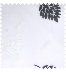 Black white color beautiful natural floral leaf pattern embroidery designs horizontal lines with transparent fabric sheer curtain
